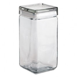 Stackable Square Glass Jar, 64 oz, Clear, Glass Lid