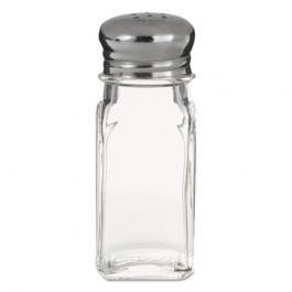 "Mushroom Top Salt/Pepper Shakers, Glass/Stainless Steel,1oz,3"", Clear/Silver"