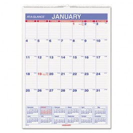 "Recycled Monthly Wall Calendar, Blue and Red, 8"" x 11"", 2013"