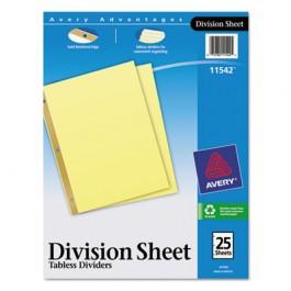 Untabbed Sheet Dividers, Letter, Buff, 25/Pack