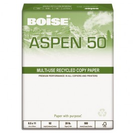 ASPEN 50% Recycled Office Paper, 92 Bright, 20lb, 8-1/2 x 11, White, 5000/CT