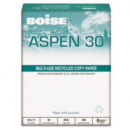 ASPEN 30% Recycled Office Paper, 92 Bright, 20lb, 11 x 17, White, 2500 /Carton