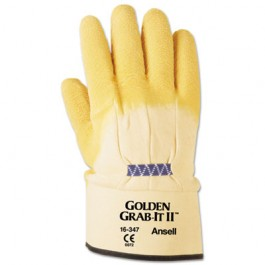 Golden Grab-It II Heavy-Duty Work Gloves, Size 10, Latex/Jersey, Yellow
