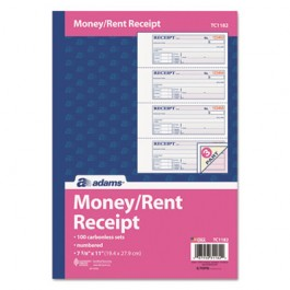 Receipt Book, 7 5/8 x 11, Three-Part Carbonless, 100 Forms