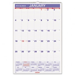 """Recycled Monthly Wall Calendar, Blue and Red,15 1/2"""" x 22 3/4"""", 2013"""