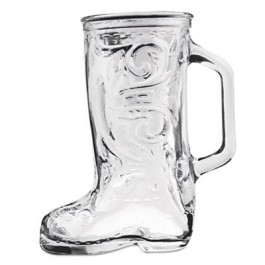 Boot Beer Mug, Glass, 12 1/3 oz, Western Boot, Clear