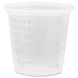Conex Complements Graduated Plastic Portion/Medicine Cups, 1 1/4 oz, Translucent