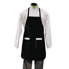 Bib Apron, Two Center Pockets, Black, Poly/Cotton, One Size Fits Most