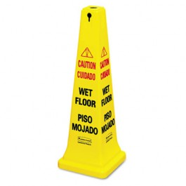 Four-Sided Wet Floor Yellow Safety Cone, 12-1/4 x 12-1/4 x 36h