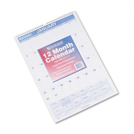 "Recycled Monthly Wall Calendar, Blue and Red, 12"" x 17"", 2013"