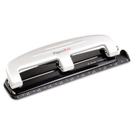 12-Sheet Capacity Three-Hole Punch, Rubber Base, Gray
