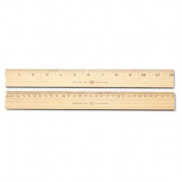 """Wood Ruler, Metric and 1/16"""" Scale with Single Metal Edge, 30 cm"""