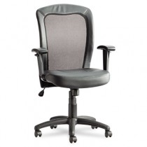 Easton Series Mesh/Leather Mid-Back Synchro-Tilt Chair, Black Leather