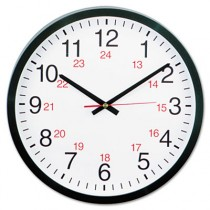 "24-Hour Round Wall Clock, 12 1/2"", Black"