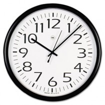 Round Wall Clock, 13-1/2in, Black