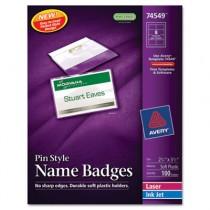 Badge Holders w/Laser/Inkjet Inserts, Top Loading, 2 1/4 x 3 1/2, White