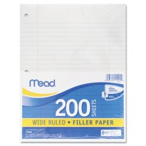 Filler Paper, 15-lbs., Wide Ruled, 3-hole punched, 10-1/2 x 8, 200 Sheets/Pack