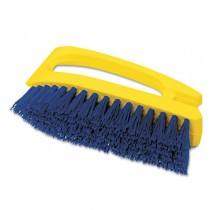 "Iron-Shaped Scrub Brush, 6"" Brush, Yellow Plastic Handle/Blue Bristles"