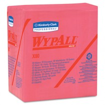 WYPALL X80 Wipers, 1/4-Fold, HYDROKNIT, 12 1/2 x 13, Red