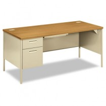 Metro Classic Left Pedestal Workstation Desk, 66w x 30d, Harvest/Putty