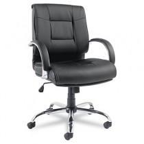 Ravino Series Mid-Back Swivel/Tilt Leather Chair, Black