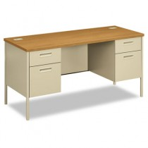 Metro Series Kneespace Credenza, 60w x 24d x 29-1/2h, Harvest/Putty