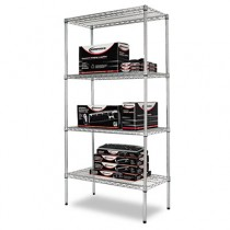 Wire Shelving Starter Kit, 4 Shelves, 36w x 18d x 72h, Silver
