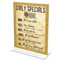 Stand-Up Double-Sided Sign Holder, Plastic, 8-1/2 x 11, Clear