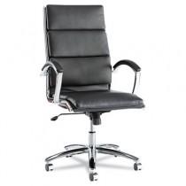 Neratoli High-Back Swivel/Tilt Chair, Black Soft-Touch Leather, Chrome Frame