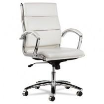 Neratoli Mid-Back Swivel/Tilt Chair, White Faux Leather, Chrome Frame