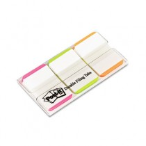 Durable File Tabs, 1 x 1 1/2, Striped, Assorted Fluorescent Colors, 66/Pack