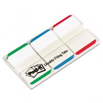Durable File Tabs, 1 x 1 1/2, Striped, Blue/Green/Red, 66/Pack