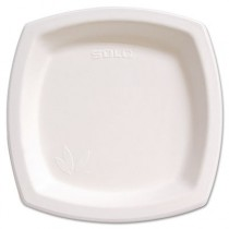 Bare Eco-Forward Sugarcane Plates, 8 1/4 Inches, Ivory, Square, 125/Pack