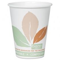 Bare PLA Hot Cups, White w/Leaf Design, 8 oz.