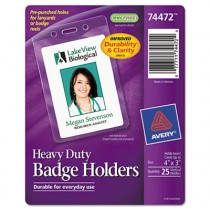 Badge Holders, Vertical, 3w x 4h, Clear, 25/Pack