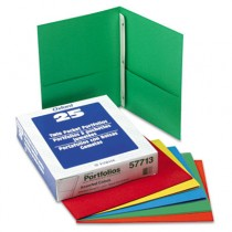 "Paper Twin-Pocket Portfolio, Tang Clip, Letter, 1/2"" Capacity, Assorted, 25/Box"