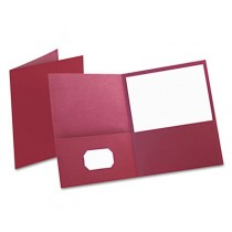 Twin-Pocket Portfolio, Embossed Leather Grain Paper, Burgundy