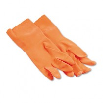 Flock-Lined Latex Cleaning Gloves, Large, Orange, Pair