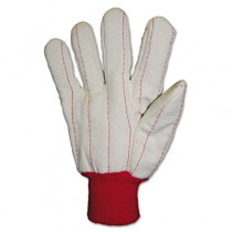 Heavy Canvas Gloves, White/Red