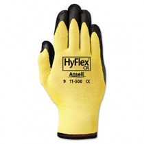 HyFlex Ultra Lightweight Assembly Gloves, Black/Yellow, Size 10