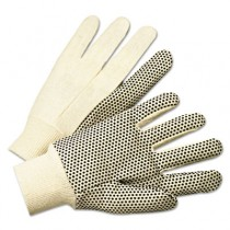 PVC-Dotted Canvas Gloves, White, One Size Fits All