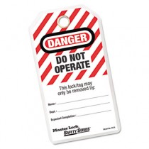 Heavy Duty Laminated Safety Tags, Polyester Laminate, Red/White
