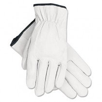 Grain Goatskin Driver Gloves, White, Large