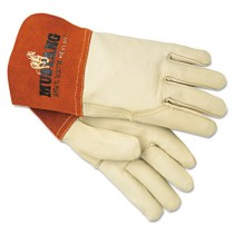 Mustang MIG/TIG Leather Welding Gloves, White/Russet, Large