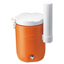 Insulated Beverage Container with Cup Dispenser, 5gal, Orange/White