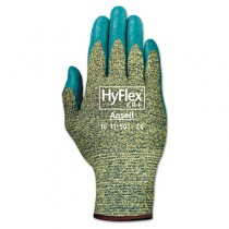 HyFlex 501 Medium-Duty Gloves, Size 8, Kevlar/Nitrile, Blue/Green