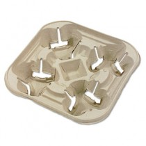 StrongHolder Molded Fiber Cup Tray, 8-22oz, Four Cups