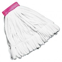 Rough Floor Mop Heads, White, Medium, Cotton/Synthetic, 12/Case