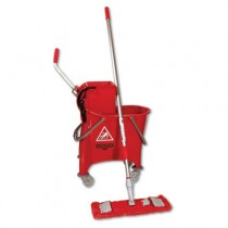 Side-Press Restroom Mop Bucket FloorPack, 8gal, Plastic, Red