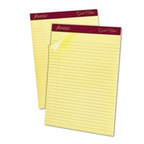 Gold Fibre Ruled Pad, Legal/Wide Rule, Ltr, Canary, 50-Sheet Pads/Pack, Dozen